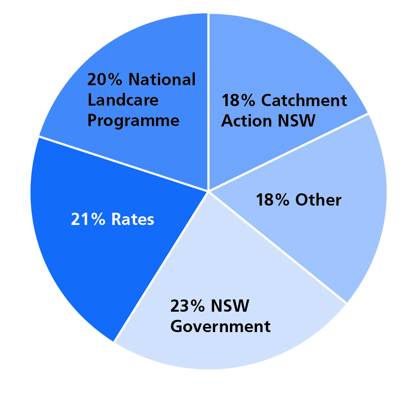 Pie chart showing how LLS is funded