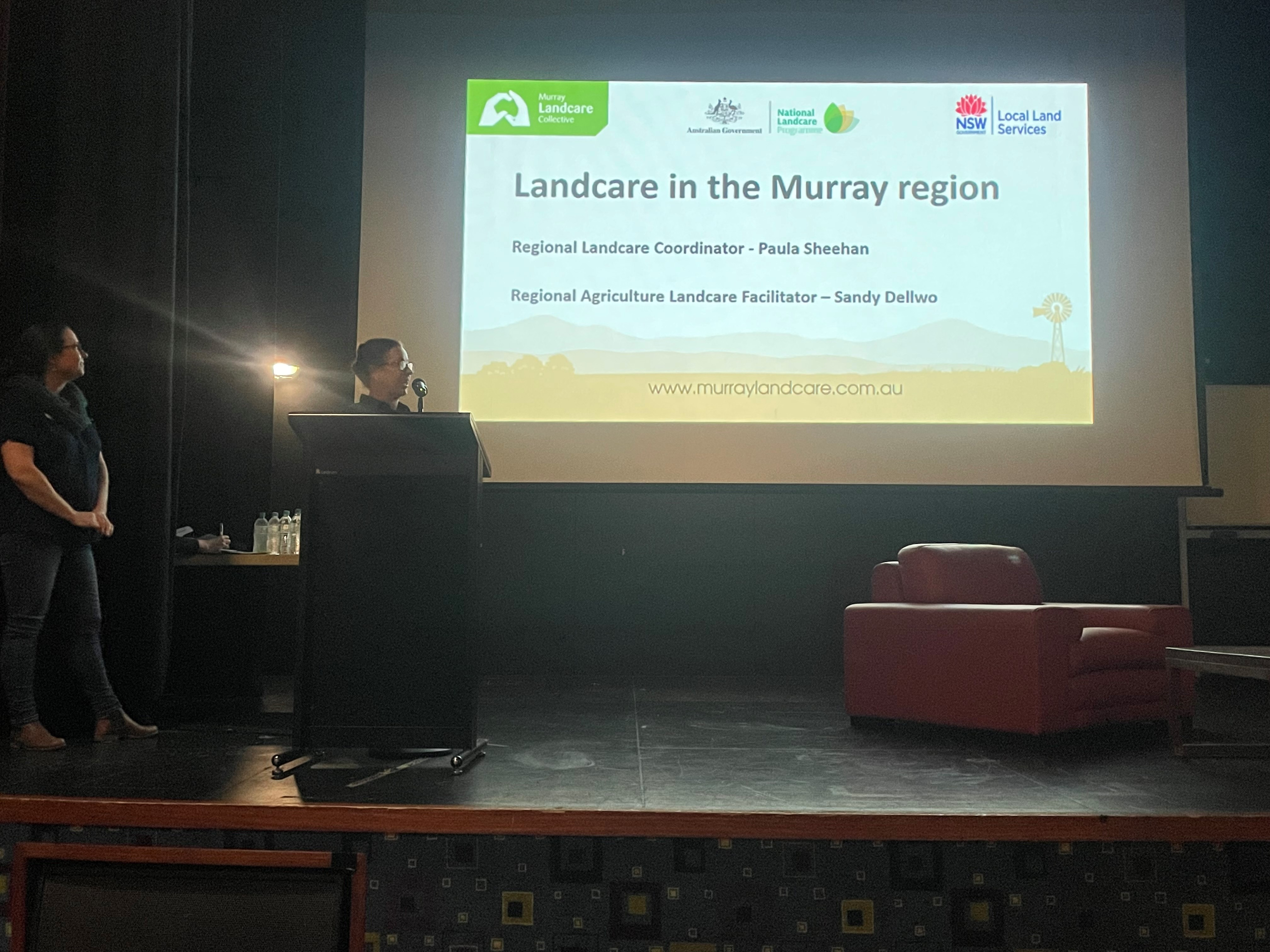 Presentation screen with the words Landcare in the Murray region