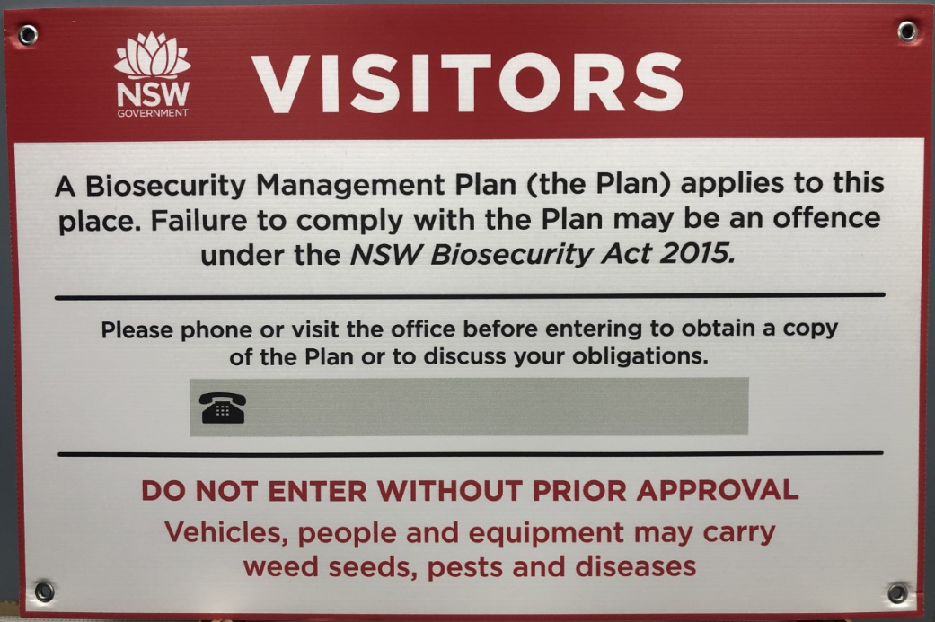 Biosecurity gate signs are available from your Local Land Services office