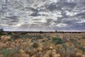 Western landscape with sunburst