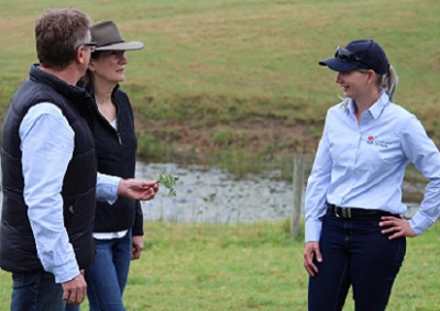 David and Kim King with Local Land Services Biosecurity Officer Evelyn Osborne. Credit - Amanda Ardler